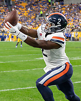 Virginia wide receiver Joe Reed makes a catch. The Virginia Cavaliers defeated the Pitt Panthers 30-14 in a football game at Heinz Field, Pittsburgh, Pennsylvania on August 31, 2019.