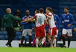 18.3.2021 Rangers v Slavia Prague: Connor Goldson and UEFA official react to Ondrej Kudela after second half flashpoint with Glen Kamara