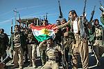 13/11/2015-- Iraq,Sinjar -- Peshmarga fighters celebrating the liberation of Sinjar.