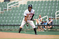 Joel Booker (23) of the Kannapolis Intimidators takes his lead off of first base against the West Virginia Power at Kannapolis Intimidators Stadium on June 18, 2017 in Kannapolis, North Carolina.  The Intimidators defeated the Power 5-3 to win the South Atlantic League Northern Division first half title.  It is the first trip to the playoffs for the Intimidators since 2009.  (Brian Westerholt/Four Seam Images)