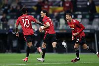 26th May 2021; STADION GDANSK GDANSK, POLAND; UEFA EUROPA LEAGUE FINAL, Villarreal CF versus Manchester United:  Manchester United's MARCUS RASHFORD, EDINSON CAVANI and MASON GREENWOOD run back to the centre circle to restart after Cavani's equalising goal