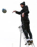 28th March 2021; Mattoli Woods Welford Road Stadium, Leicester, Midlands, England; Premiership Rugby, Leicester Tigers versus Newcastle Falcons; Leicester Tigers Head Coach Steve Borthwick whilst catching line out practice throws in the pre-match warm-up