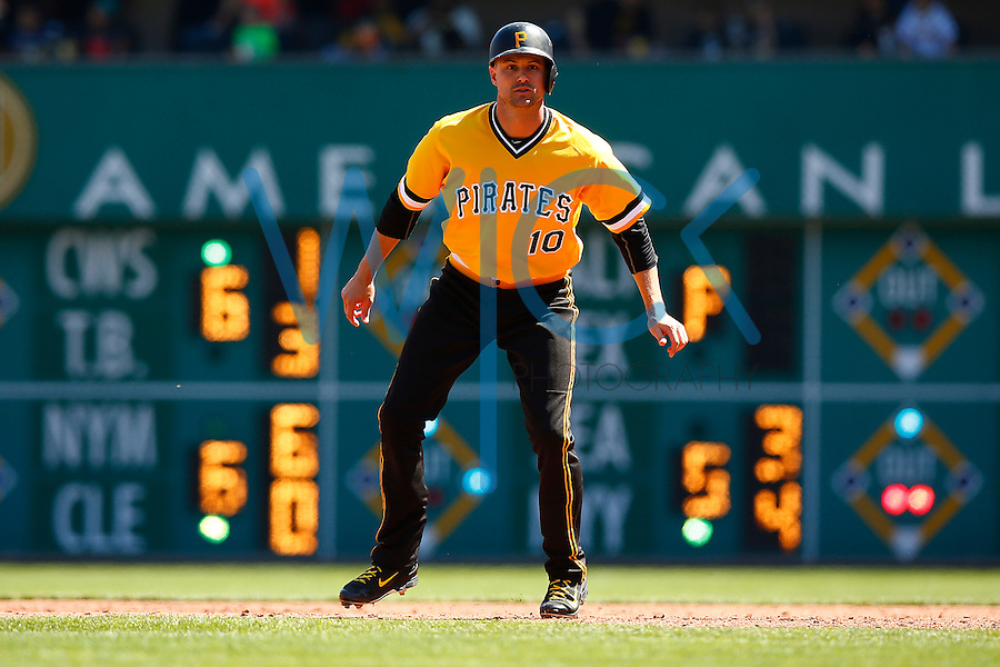 Jordy Mercer #10 of the Pittsburgh Pirates in action against the Milwaukee Brewers during the game at PNC Park in Pittsburgh, Pennsylvania on April 17, 2016. (Photo by Jared Wickerham / DKPS)