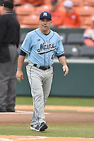 Main Black Bears head coach Steve Trimper before a game against the Clemson Tigers at Doug Kingsmore Stadium on February 20, 2016 in Clemson, South Carolina. The Tigers defeated the Black Bears 9-4. (Tony Farlow/Four Seam Images)