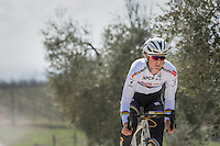 elite women's road world champion Amalie Dideriksen (DEN/Boels-Dolmans) during the 2017 Strade Bianche recon (the day before the race)