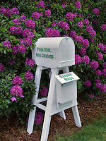 Mailbox and rhododendrons blooming. Schrieners Iris Gardens. Oregon