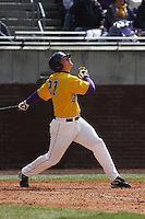 East Carolina University Pirates outfielder Chris Gosik #27 at bat during a game against the Stony Brook Seawolves at Clark-LeClair Stadium on March 4, 2012 in Greenville, NC.  East Carolina defeated Stony Brook 4-3. (Robert Gurganus/Four Seam Images)