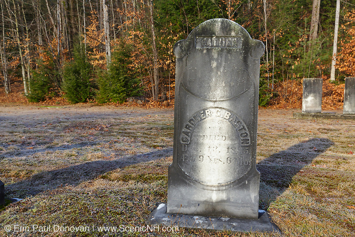 The headstone of Gardner G. Baston (1816-1895) at Woodstock Cemetery in Woodstock, New Hampshire during the autumn months. This cemetery is located along the Daniel Webster Highway.