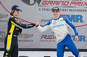 #10: Alex Palou, Chip Ganassi Racing Honda celebrates winning, #26: Colton Herta, Andretti Autosport Honda