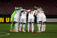 Thursday 27 February 2014<br /> Pictured: Swansea players huddle before kick off<br /> Re: UEFA Europa League, SSC Napoli v Swansea City FC at Stadio San Paolo, Naples, Italy.