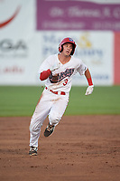 Auburn Doubledays second baseman Brandon Boggetto (3) runs the bases during a game against the Connecticut Tigers on August 8, 2017 at Falcon Park in Auburn, New York.  Auburn defeated Connecticut 7-4.  (Mike Janes/Four Seam Images)