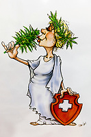 Switzerland. Canton Ticino. Lugano. Mystic Shop is a shop selling various cannabis CBD and hemp products. On the wall, a drawing from Helvetia smelling cannabis plant while wearing a cannabis wreath on her head. The drawing was created by Ivan Artucovich, AKA Ivan Art, who is a graphic illustrator and a cartoonist. For years, Ivan Art has been creating awareness and shedding new light on the multiple uses of cannabis with the goal to make society rethinking about its preconceptions towards the magnificent plant. Helvetia is the female national personification of Switzerland, officially the Swiss Confederation. The allegory is typically pictured in a flowing gown with a shield emblazoned with the Swiss flag, and commonly with braided hair and a wreath as a symbol of confederation. The flag of Switzerland consists of a red flag with a white cross (a bold, equilateral cross) in the centre. It is one of only two square sovereign-state flags. The business of selling cannabis CBD is registered with the Swiss Federal Health Office. The Swiss legal requirements have a 1 percent THC limit compare to the European Union (EU) where the THC limit is limited to 0.3 percent. Cannabidiol (CBD) is a phytocannabinoid discovered in 1940. It is one of some 113 identified cannabinoids in cannabis plants and accounts for up to 40% of the plant's extract. Cannabidiol can be taken into the body in multiple ways, including by inhalation of cannabis smoke or vapor, as an aerosol spray into the cheek, and by mouth. It may be supplied as CBD oil containing only CBD as the active ingredient (no included tetrahydrocannabinol [THC] or terpenes), a full-plant CBD-dominant hemp extract oil, capsules, dried cannabis, or as a prescription liquid solution. 30.07.2019 © 2019 Didier Ruef