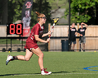 NEWTON, MA - MAY 14: Belle Mastropietro #12 of Temple University brings the ball forward during NCAA Division I Women's Lacrosse Tournament first round game between University of Massachusetts and Temple University at Newton Campus Lacrosse Field on May 14, 2021 in Newton, Massachusetts.