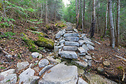 May 2016 - Mt Tecumseh Trail in Waterville Valley, New Hampshire. In 2011, the year trail work (stone staircase) was done in this section, there was no noticeable erosion on the left-hand side of the trail. See how this section of trail looked in 2011: http://bit.ly/3760BXz