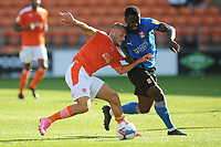 Blackpool's Jerry Yates vies for possession with Swindon Town's Diallang Jaiyesimi<br /> <br /> Photographer Kevin Barnes/CameraSport<br /> <br /> The EFL Sky Bet League One - Blackpool v Swindon Town - Saturday 19th September 2020 - Bloomfield Road - Blackpool<br /> <br /> World Copyright © 2020 CameraSport. All rights reserved. 43 Linden Ave. Countesthorpe. Leicester. England. LE8 5PG - Tel: +44 (0) 116 277 4147 - admin@camerasport.com - www.camerasport.com