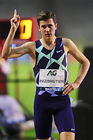 5th September 2020, Brussels, Netherlands;  Norway s Jakob Ingebrigtsen celebrates after the 1500m Men at the Diamond League Memorial Van Damme athletics event at the King Baudouin stadium in Brussels