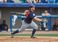 5 March 2016: Detroit Tigers catcher Bryan Holaday hits his second home run of the game, a 2-run shot to left field, during a Spring Training pre-season game against the Washington Nationals at Space Coast Stadium in Viera, Florida. The Tigers fell to the Nationals 8-4 in Grapefruit League play. Mandatory Credit: Ed Wolfstein Photo *** RAW (NEF) Image File Available ***