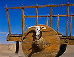 Fort Leaton State Historic Site, TX<br /> Wooden wheel and wagon with sun bleached skull in an adobe courtyard