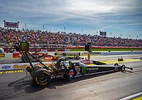 May 4, 2018; Commerce, GA, USA; NHRA top fuel driver Brittany Force during qualifying for the Southern Nationals at Atlanta Dragway. Mandatory Credit: Mark J. Rebilas-USA TODAY Sports