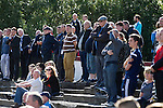 Harestanes AFC v Girvan FC, 15/08/2015. Scottish Cup preliminary round, Duncansfield Park. Spectators watching the second-half action as Harestanes AFC take on Girvan FC in a Scottish Cup preliminary round tie, staged at Duncansfield Park, home of Kilsyth Rangers. The home team were the first winners of the Scottish Amateur Cup to be admitted directly into the Scottish Cup in the modern era, whilst the visitors participated as a result of being members of both the Scottish Football Association and the Scottish Junior Football Association. Girvan won the match by 3-0, watched by a crowd of 300, which was moved from Harestanes ground as it did not comply with Scottish Cup standards. Photo by Colin McPherson.