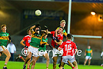 Paudie O'Leary, Kerry and Conor Horan, Kerry in action against Eoghan Nash, Cork during the Munster Minor Semi-Final between Kerry and Cork in Austin Stack Park on Tuesday evening.