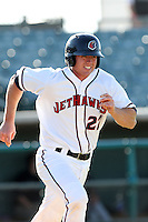 Ben Heath #22 of the Lancaster JetHawks runs the bases against the Lake Elsinore Storm at Clear Channel Stadium on May 11, 2012 in Lancaster,California. (Larry Goren/Four Seam Images)