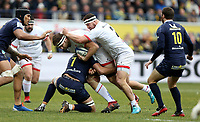 11 January 2020; Iain Henderson of Ulster is tackled by Alexandre Lapandry of Clermont during the Heineken Champions Cup Pool 3 Round 5 match between ASM Clermont Auvergne and Ulster at Stade Marcel-Michelin in Clermont-Ferrand, France. Photo by John Dickson/DICKSONDIGITAL