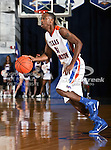 Texas-Arlington Mavericks guard/forward LaMarcus Reed III (31) looks for an open player in the game between the UTA Mavericks and the Houston Baptist Huskies held at the University of Texas in Arlington's Texas Hall in Arlington, Texas. UTA defeats Houston Baptist 72 to 57