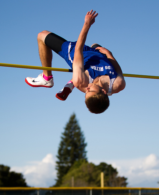 """Milpitas at Los Altos Track Meet, April 5, 2012...Danny Yeager clears 6'4"""" on the high jump, a personal best."""