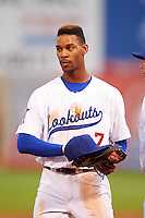 Chattanooga Lookouts outfielder Byron Buxton (7) during a game against the Jacksonville Suns on April 30, 2015 at AT&T Field in Chattanooga, Tennessee.  Jacksonville defeated Chattanooga 6-4.  (Mike Janes/Four Seam Images)