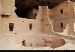 Keyhole-shaped Kiva, T-shaped Wall Openings and Interior Rooms, Central Section, Spruce Tree House, Anasazi Hisatsinom Ancestral Pueblo Site, Chapin Mesa, Mesa Verde National Park, Colorado
