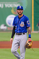 Biloxi Shuckers third baseman Lucas Erceg (17) during a Southern League game against the Jackson Generals on July 26, 2018 at The Ballpark at Jackson in Jackson, Tennessee. Jackson defeated Biloxi 9-5. (Brad Krause/Four Seam Images)