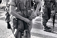 Janary and February 1986 were memorable days in the Philippines. The fall of dictator Ferdinand Marcos and the rise of the first so called democraticly chosen President Cory Aquino. Helped by the massive public support of People Power. soldiers protecting the palace during the last days.
