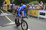 Daniel Martin (IRL) Garmin Sharp Barracuda starts the Prologue of the 99th edition of the Tour de France 2012, a 6.4km individual time trial starting in Parc d'Avroy, Liege, Belgium. 30th June 2012.<br /> (Photo by Eoin Clarke/NEWSFILE)