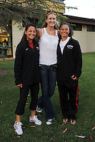 Stanford, CA - SEPTEMBER 11:  Former Stanford Cardinal volleyball great Kerri Walsh (C) poses for a photo with Midori Uehara (L) and Rachel Bush (R) of the Stanford Cardinal field hockey team during Stanford's 25-17, 25-16, 26-24 win against the New Mexico State Aggies in the Stanford Invitational on September 11, 2008 at Maples Pavilion in Stanford, California.