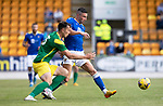 St Johnstone v Preston North End…13.07.21  McDiarmid Park<br />Michael O'Halloran tackles Patrick Bauer<br />Picture by Graeme Hart.<br />Copyright Perthshire Picture Agency<br />Tel: 01738 623350  Mobile: 07990 594431