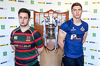 SCHOOLS CUP DRAW 2016 | Monday 16th November 2015<br /> <br /> Cambridge House captain Kane McBride and Limavady Grammar captain Mark Woods at the 2016 Ulster Schools Cup draw at Kingspan Stadium, Ravenhill Park, Belfast, Northern Ireland.<br /> <br /> Photo credit: John Dickson / DICKSONDIGITAL