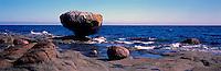 "Haida Gwaii (Queen Charlotte Islands), Northern BC, British Columbia, Canada - ""Balance Rock"" at Rising Tide, near Skidegate on Graham Island - Panoramic View"