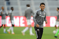 WASHINGTON, DC - MAY 13: Yamil Asad #11 of D.C. United warming up during a game between Chicago Fire FC and D.C. United at Audi FIeld on May 13, 2021 in Washington, DC.