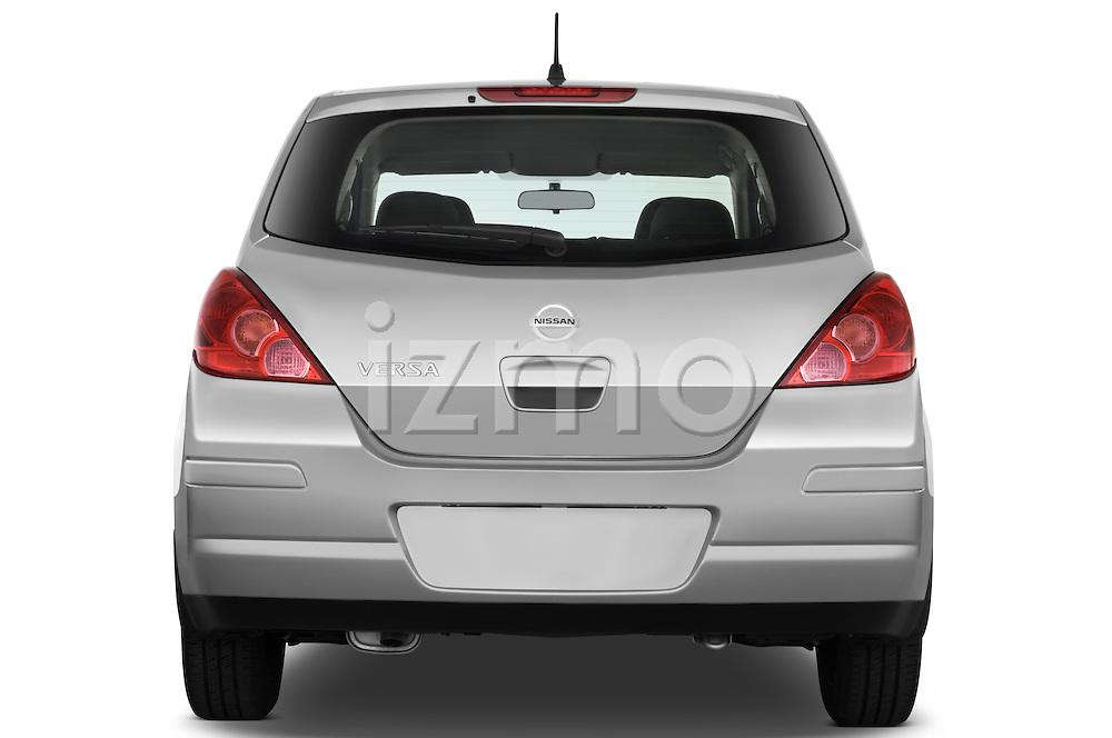 Straight rear view of a 2009 Nissan Versa Hatchback