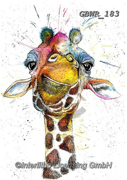 Simon, REALISTIC ANIMALS, REALISTISCHE TIERE, ANIMALES REALISTICOS, innovative, paintings+++++KatherineWilliams_SplatterRainbowGiraffe,giraffe,,GBWR183,#a#, EVERYDAY