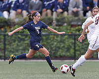 Yale University forward Melissa Gavin (7) passes the ball. In overtime, Harvard University defeated Yale University,1-0, at Soldiers Field Soccer Stadium, on September 29, 2012.