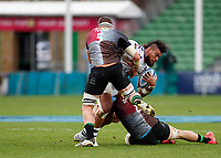 26th December 2020; Twickenham Stoop, London, England; English Premiership Rugby, Harlequins versus Bristol Bears; Nathan Hughes of Bristol Bears stopped by Alex Dombrandt and Glen Young of Harlequins