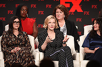 """PASADENA, CA - JANUARY 9: (L-R Front Row) Executive Producer Stacey Sher, Executive Producer/cast member<br /> Cate Blanchett, Creator/Executive Producer/Writer Dahvi Waller, (L-R Back Row) cast members Uzo Aduba, and Margo Martindale attend the panel for """"Mrs. America"""" during the FX Networks presentation at the 2020 TCA Winter Press Tour at the Langham Huntington on January 9, 2020 in Pasadena, California. (Photo by Frank Micelotta/FX Networks/PictureGroup)"""