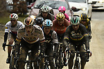 The chase group including Marcus Burghardt (GER), World Champion Peter Sagan (SVK) Bora-Hansgrohe and Michal Kwiatkowski (POL) Team Sky hit the white dirt roads of Tuscany during the 2018 Strade Bianche Men Elite NamedSport race running 184km from Siena to Siena, Tuscany, Italy. 3rd March 2018.<br /> Picture: LaPresse/Fabio Ferrari | Cyclefile<br /> <br /> <br /> All photos usage must carry mandatory copyright credit (© Cyclefile | LaPresse/Fabio Ferrari)