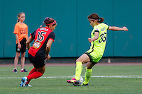Rochester, NY - Saturday July 09, 2016: Seattle Reign FC forward Nahomi Kawasumi (36), Western New York Flash defender Jaelene Hinkle (15) during a regular season National Women's Soccer League (NWSL) match between the Western New York Flash and the Seattle Reign FC at Frontier Field.
