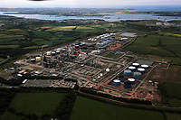 Pictured: Aerial view of the Murco Refinery near Milford Haven, Wales, UK<br />