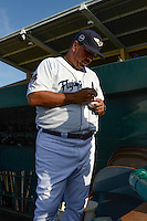 Lakeland Flying Tigers hitting coach Nelson Santovenia (53) signs autographs before a game against the Tampa Yankees on April 9, 2015 at Joker Marchant Stadium in Lakeland, Florida.  Tampa defeated Lakeland 2-0.  (Mike Janes/Four Seam Images)