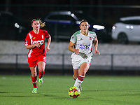 Sara Yuceil (13 OHL) with the ball  during a female soccer game between Oud Heverlee Leuven and Standard Femina De Liege on the 10th matchday of the 2020 - 2021 season of Belgian Womens Super League , sunday 20 th of December 2020  in Heverlee , Belgium . PHOTO SPORTPIX.BE | SPP | SEVIL OKTEM