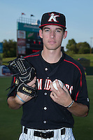 Kannapolis Intimidators pitcher Zack Erwin (17) poses for a photo prior to the game against the Delmarva Shorebirds at CMC-Northeast Stadium on August 27, 2015 in Kannapolis, North Carolina.  The Shorebirds defeated the Intimidators 2-1 in 10 innings.  (Brian Westerholt/Four Seam Images)